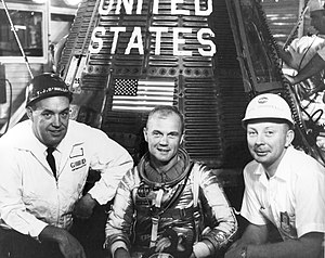 T. J. O'Malley - O'Malley (left) with John Glenn and Paul Donnelly in front of Friendship 7