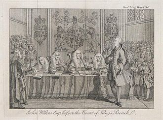 "John Wilkes - ""John Wilkes Esq; before the Court of King's Bench"", engraving from The Gentleman's Magazine for May 1768"