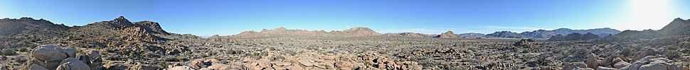 Panoramic 360° view of Joshua Tree National Park taken in mid-January near the Western Entrance Station