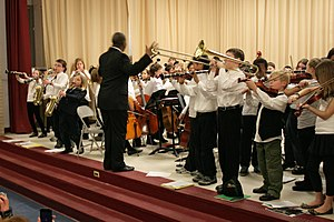 English: First band concert by kids
