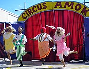 Juggling is often used in circus arts, such as in Jennifer Miller's Circus Amok