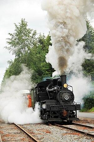 Mount Rainier Scenic Railroad - Rayonier Willamette No. 2, leaving Eatonville, June 23, 2011.