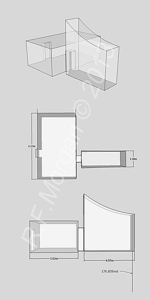KV28 - Isometric, plan and elevation images of KV28 taken from a 3d model
