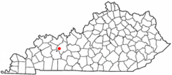 Location of Centertown, Kentucky