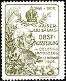 Kaiser-Jubiläums-Obstschau Deutschlandsberg 1908 Vignette olivgrün.jpg