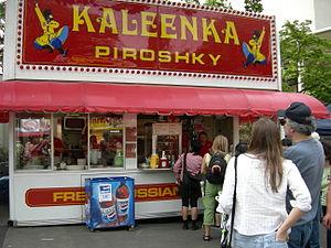 Food booth - Kaleenka Piroshky food booth at Northwest Folklife Festival, Seattle Center.
