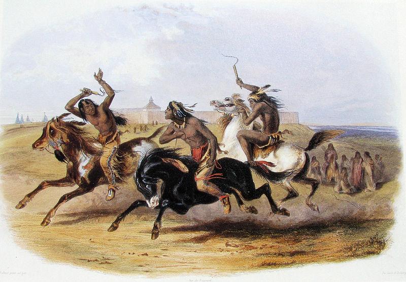 Archivo:. Karl Bodmer - Carreras de Caballos de los Sioux (Fuente) Jpg