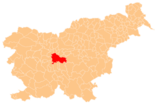 Map of Slovenia, position of Ljubljana highlighted