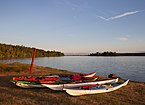 Kayaks at a campsite on Sidney Spit (part of Gulf Islands National Park Reserve), Sidney Island, British Columbia, Canada 22.jpg