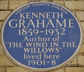 Kenneth Grahame - Blue plaque, 16 Phillimore Place, London - home from 1901-08