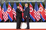 Kim Jong-un and Donald Trump shaking hands at the North Korea–United States summit