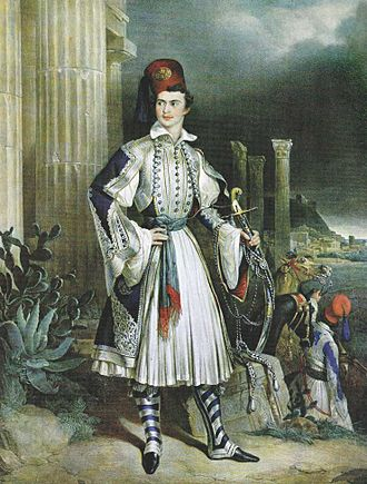 Otto of Greece - A romantic portrayal of Otto in Evzonas uniform, in front of ancient Greek ruins, by Gottlieb Bodmer