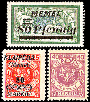 "Klaipėda Region - Postage stamps of the Klaipėda Region in use 1920-1925. The upper stamp is French with overprint in German ""MEMEL"". The other stamps are Lithuanian, one with overprint in Lithuanian and in German, the other without. The latter one was issued especially for postal use in the Klaipėda Region."
