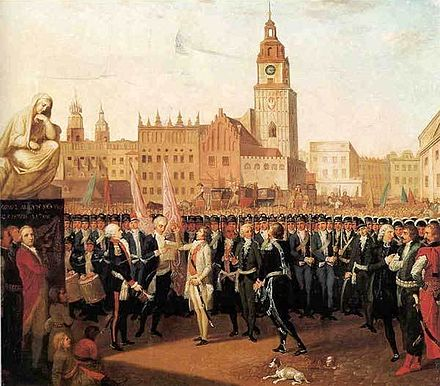 Tadeusz Kosciuszko takes the oath of loyalty to the Polish nation in Krakow's market square (Rynek), 1794 Kosciuszko taking an oath at Krakow's Market Square.jpg