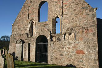 Kincardine O'Neil Hospital, Aberdeenshire - East end of the Church showing the lancet windows. To the right (North) of the right hand window are the remains of an aumbry or wall-press.