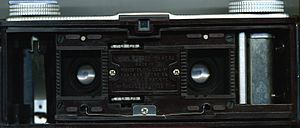Kodak Stereo Camera - Kodak Stereo camera with the back removed, showing the film chamber.