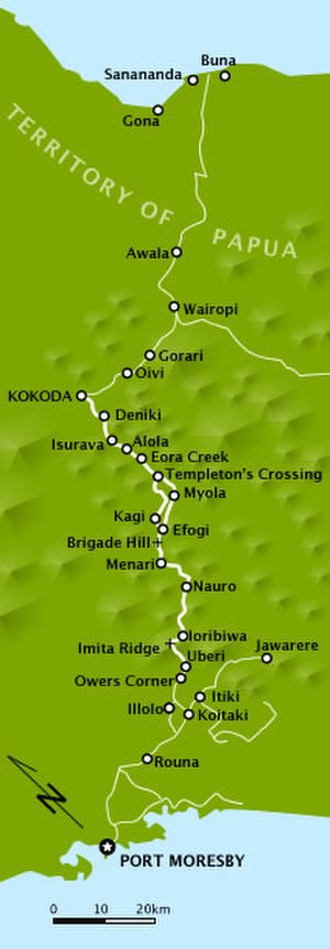 6th Division (Australia) - A map depicting locations along the Kokoda Track