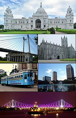 Clockwise from top: വിക്ടോറിയ സ്മാരകം, St. Paul's Cathedral, central business district, ഹൗറ പാലം, city tram line, Vidyasagar Bridge