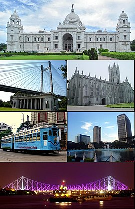 Clockwise from top: Victoria Memorial, St. Paul's Cathedral, Central Business District, Rabindra Setu, City Tram Line, Vidyasagar Setu