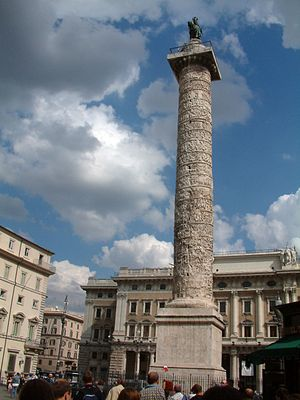 Victory column - The Column of Marcus Aurelius in Piazza Colonna