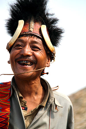 Konyak people - A chief of Konyak tribe in his traditional outfit