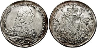 Bishopric of Würzburg - Silver coin showing the effigy and coat-of-arms of Prince-Bishop Adam Friedrich von Seinsheim (1764)