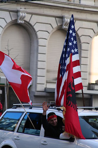 Albanians in Switzerland - Albanians celebrate the Declaration of Independence of the Republic of Kosovo in Lausanne on 17 February 2008.