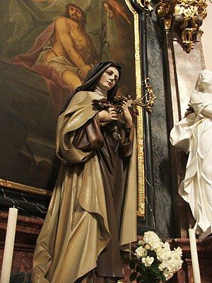 Statue of St. Teresa of the Child Jesus in the Most Holy Trinity Church, Fulnek, Czechia
