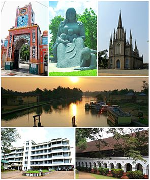 Clockwise from top: M C Mathew Memorial at Thirunakra, Aksharashilpam, Immaculate Heart of Mary Cathedral,  Kodimatha Boat Jetty, CMS College, Government Medical College