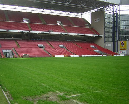 Parken Stadium, with a capacity of 38,065 spectators, located in Copenhagen, and used as official home stadium by the Denmark national football team. Kparken.JPG