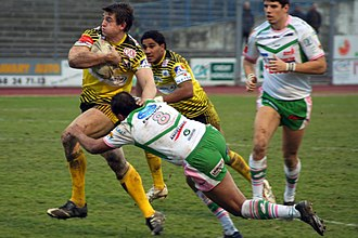 AS Carcassonne - Teddy Sadaoui and Amar Sabri playing for Carcassonne in a match against Lezignan (January 2010).