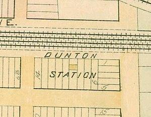 Dunton (LIRR station) - Dunton station on an 1891 map, halfway between 134th Street and Van Wyck Avenue
