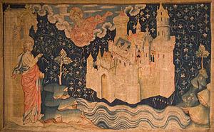 John of Patmos watches the descent of New Jerusalem from God in a 14th century tapestry.