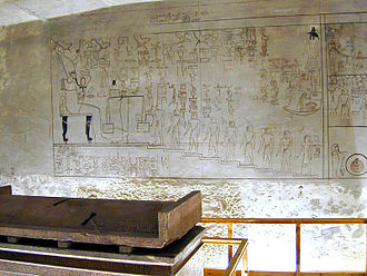 KV57 - Picture of the tomb of Horemheb and his sarcophaugus