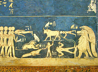 Seti I - Astronomical ceiling of Seti I tomb showing the personified representations of stars and constellations