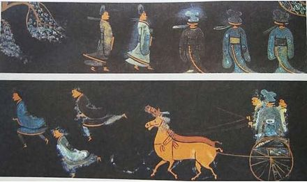 A lacquerware painting from the Jingmen Tomb (Chinese: Jing Men Chu Mu ; Pinyin: Jingmen chu mu) of the State of Chu (704-223 BC), depicting men wearing precursors to Hanfu (i.e. traditional silk dress) and riding in a two-horsed chariot Lacquer painting from Ch'u State.jpg