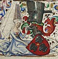 Lady holding the coat of arms of Simon de Varie - Book of hours Simon de Varie - KB 74 G37 - 025r randfig 1.jpg