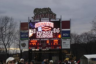 "Lafayette won the 142nd edition of ""The Rivalry"" against Lehigh Lafayette2006PLchampsboard.JPG"
