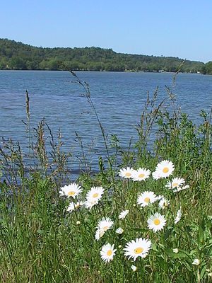 Jay, Oklahoma - Spavinaw Creek as it spills into Lake Eucha. Five miles south of Jay on Highway 10.