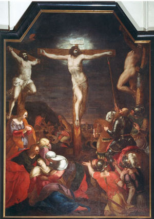 Dominicus Lampsonius - Crucifixion by Lampsonius in the Saint Quentin Cathedral in Hasselt