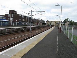 Lanark railway station - Platform 2 at Lanark railway station, looking towards the ticket office