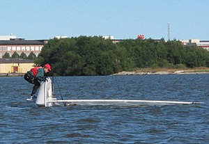 Laser (dinghy) - Righting a capsized boat