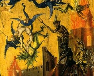 Last Judgement (Lochner) - Angels battle with demons in the upper right of the panel.