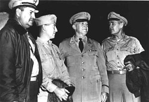 """Barney M. Giles - Barney Giles (far right) with fellow air generals Curtis LeMay, Emmett O'Donnell and """"Hap"""" Arnold (in tie)"""
