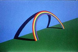 Patrick Hughes (artist) - Patrick Hughes. Leaning on a Landscape, 1979, print.