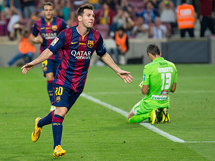 Barcelona's Lionel Messi has been a proponent of the false 9 position to much success in recent years. Leo Messi v Granada 2014.jpg