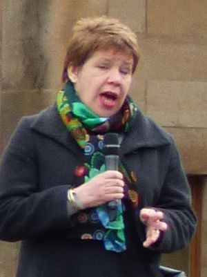 Lesley Hinds - Hinds speaking at the 2017 People's Climate March rally in Edinburgh