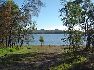 Capalaba, Queensland - Tingalpa Reservoir, formed by Leslie Harrison Dam, viewed from a residential street of Capalaba. Mount Petrie can be seen in the background.