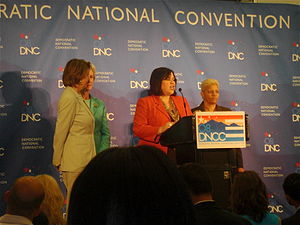 Leticia Van de Putte - Van de Putte speaks during a press conference before the start of the 2008 Democratic National Convention in Denver, Colorado, flanked by her fellow co-chairs and the convention chair.