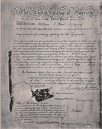 Typographer (typewriter) - Image: Letter Patent July 23, 1829